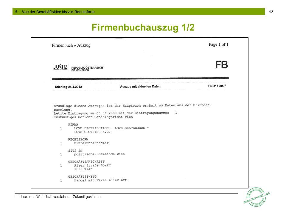 Lindner u. a.: Wirtschaft verstehen – Zukunft gestalten Firmenbuchauszug 1/2 12 5 Von der Geschäftsidee bis zur Rechtsform