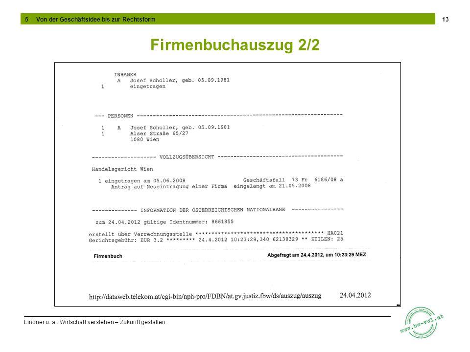 Lindner u. a.: Wirtschaft verstehen – Zukunft gestalten Firmenbuchauszug 2/2 13 5 Von der Geschäftsidee bis zur Rechtsform