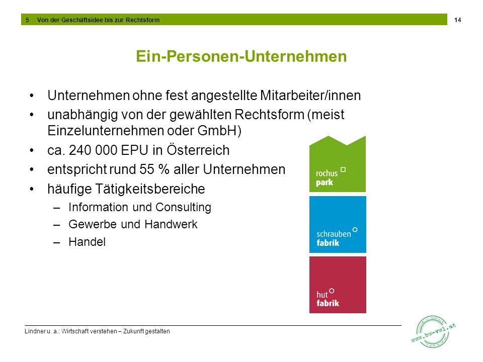 Lindner u. a.: Wirtschaft verstehen – Zukunft gestalten Ein-Personen-Unternehmen Unternehmen ohne fest angestellte Mitarbeiter/innen unabhängig von de
