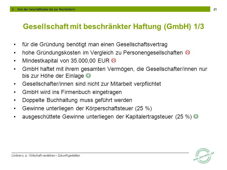 Lindner u. a.: Wirtschaft verstehen – Zukunft gestalten Gesellschaft mit beschränkter Haftung (GmbH) 1/3 für die Gründung benötigt man einen Gesellsch