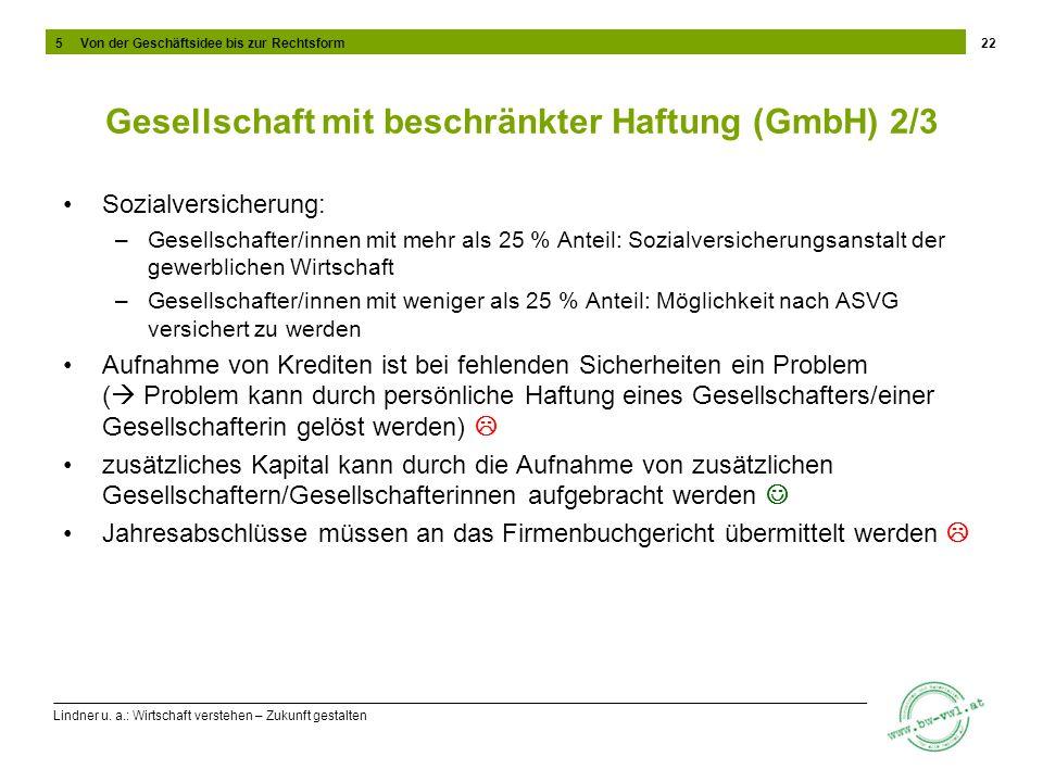 Lindner u. a.: Wirtschaft verstehen – Zukunft gestalten Gesellschaft mit beschränkter Haftung (GmbH) 2/3 Sozialversicherung: –Gesellschafter/innen mit