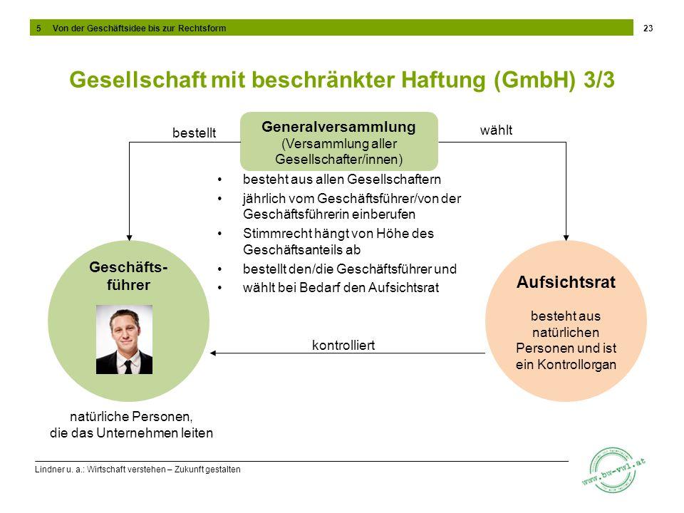 Lindner u. a.: Wirtschaft verstehen – Zukunft gestalten Gesellschaft mit beschränkter Haftung (GmbH) 3/3 besteht aus allen Gesellschaftern jährlich vo