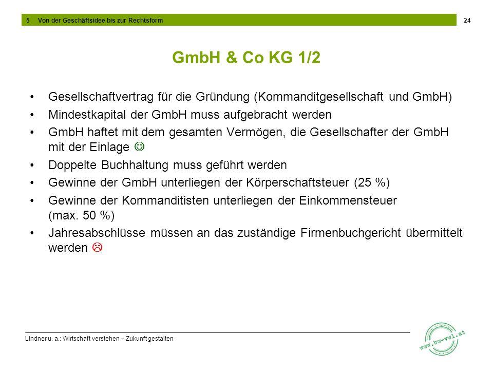 Lindner u. a.: Wirtschaft verstehen – Zukunft gestalten GmbH & Co KG 1/2 Gesellschaftvertrag für die Gründung (Kommanditgesellschaft und GmbH) Mindest