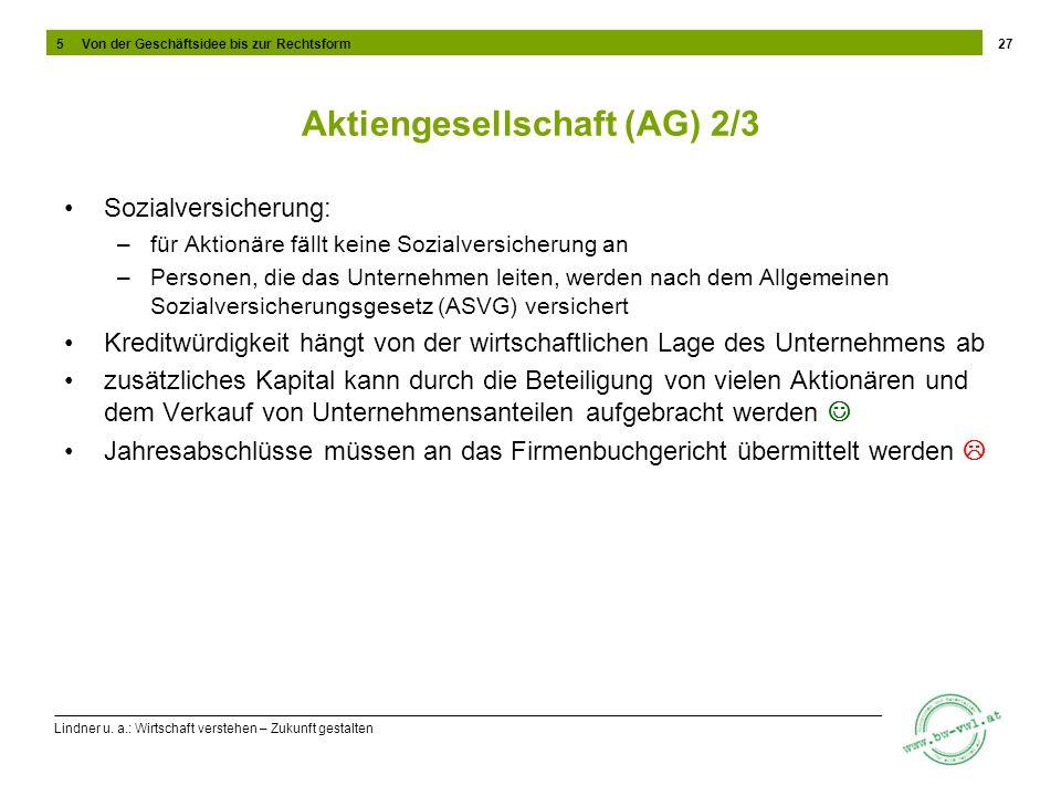 Lindner u. a.: Wirtschaft verstehen – Zukunft gestalten Aktiengesellschaft (AG) 2/3 Sozialversicherung: –für Aktionäre fällt keine Sozialversicherung