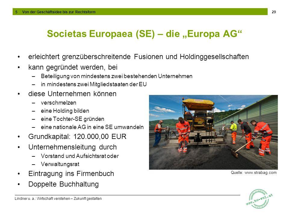 Lindner u. a.: Wirtschaft verstehen – Zukunft gestalten Societas Europaea (SE) – die Europa AG erleichtert grenzüberschreitende Fusionen und Holdingge
