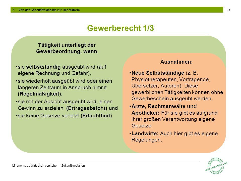 Lindner u. a.: Wirtschaft verstehen – Zukunft gestalten Gewerberecht 1/3 3 Tätigkeit unterliegt der Gewerbeordnung, wenn sie selbstständig ausgeübt wi