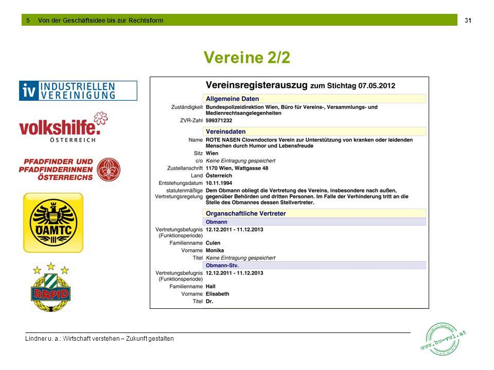 Lindner u. a.: Wirtschaft verstehen – Zukunft gestalten Vereine 2/2 31 5 Von der Geschäftsidee bis zur Rechtsform