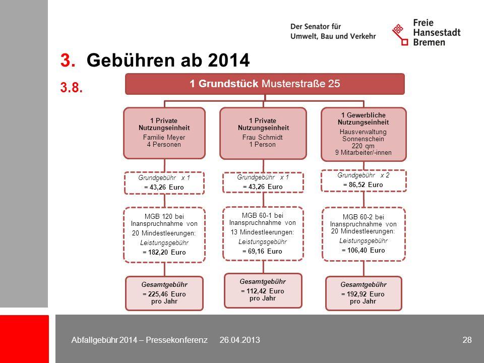 3. Gebühren ab 2014 3.8. 1 Grundstück Musterstraße 25 1 Private Nutzungseinheit Familie Meyer 4 Personen Grundgebühr x 1 = 43,26 Euro MGB 120 bei Inan