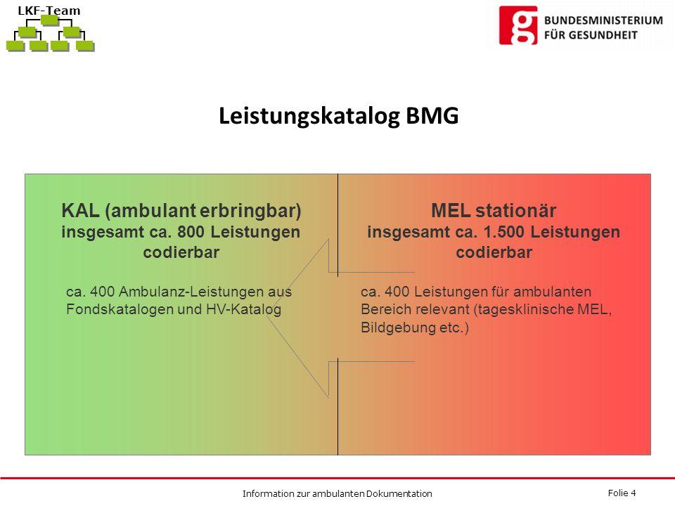 Folie 4 Information zur ambulanten Dokumentation LKF-Team Leistungskatalog BMG KAL (ambulant erbringbar) insgesamt ca. 800 Leistungen codierbar ca. 40