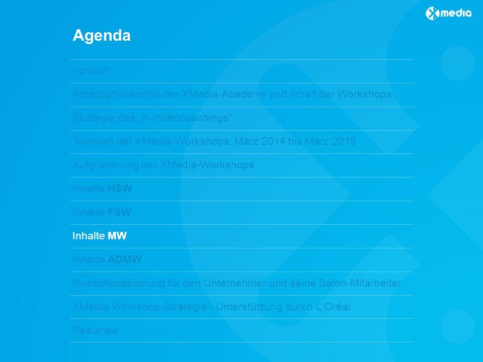 Agenda Vorwort Arbeitsphilosophie der XMedia-Academy und Inhalt der Workshops Strategie des Kundencoachings Tourplan der XMedia-Workshops: März 2014 bis März 2015 Aufgliederung der XMedia-Workshops Inhalte HSW Inhalte FSW Inhalte MW Inhalte ADMW Investitionsplanung für den Unternehmer und seine Salon-Mitarbeiter XMedia Workshop-Strategie - Unterstützung durch LOréal Resümee