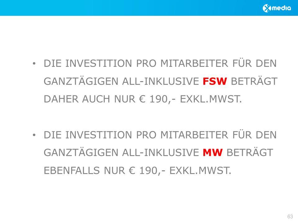 DIE INVESTITION PRO MITARBEITER FÜR DEN GANZTÄGIGEN ALL-INKLUSIVE FSW BETRÄGT DAHER AUCH NUR 190,- EXKL.MWST.