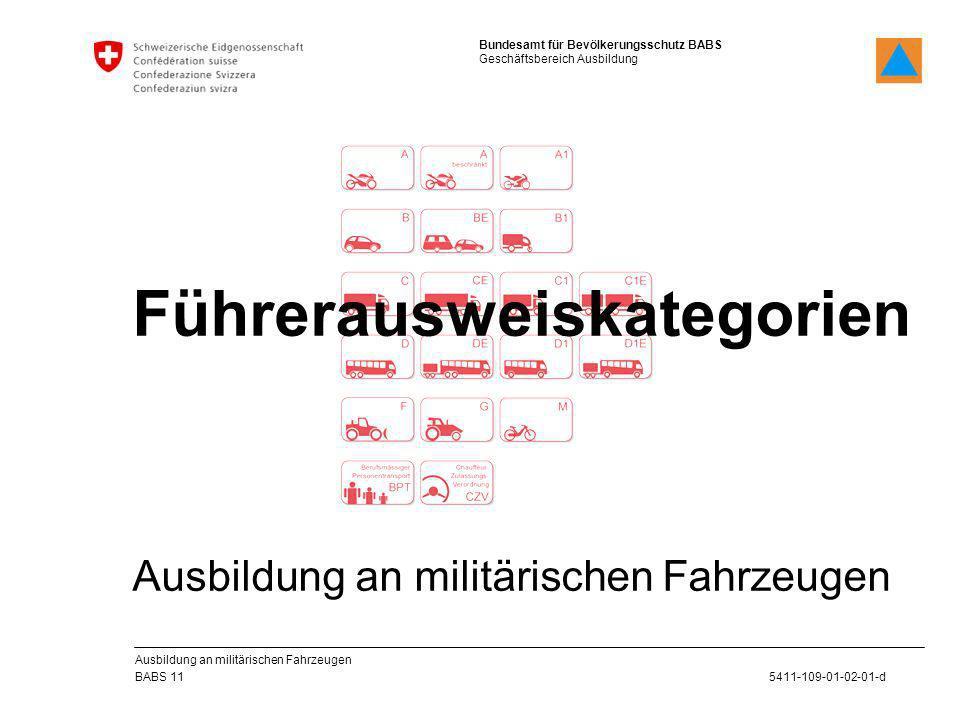 Bundesamt für Bevölkerungsschutz BABS Geschäftsbereich Ausbildung 5411-109-01-02-01-d BABS 11 Ausbildung an militärischen Fahrzeugen Führerausweiskate