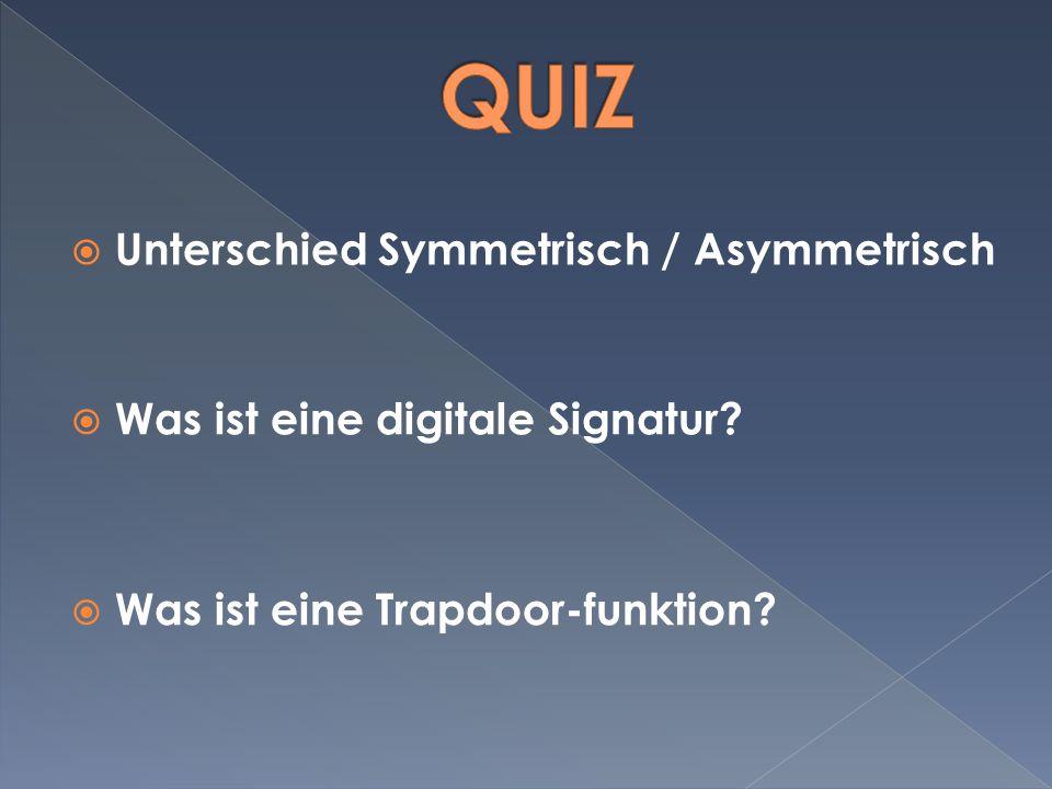 Unterschied Symmetrisch / Asymmetrisch Was ist eine digitale Signatur.