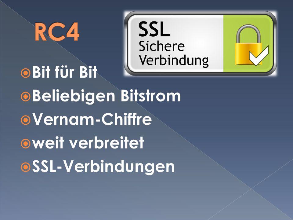 Bit für Bit Beliebigen Bitstrom Vernam-Chiffre weit verbreitet SSL-Verbindungen