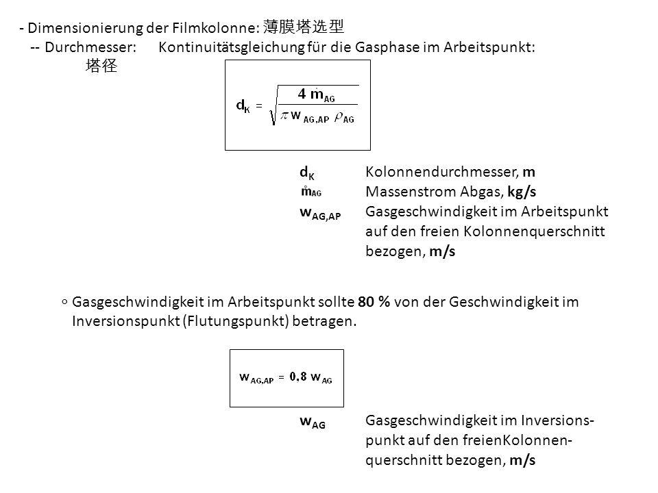 - Dimensionierung der Filmkolonne: -- Durchmesser: Kontinuitätsgleichung für die Gasphase im Arbeitspunkt: d K Kolonnendurchmesser, m Massenstrom Abga