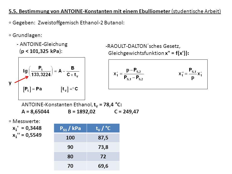 5.5. Bestimmung von ANTOINE-Konstanten mit einem Ebulliometer (studentische Arbeit) Grundlagen: - ANTOINE-Gleichung (p < 101,325 kPa): -RAOULT-DALTON´