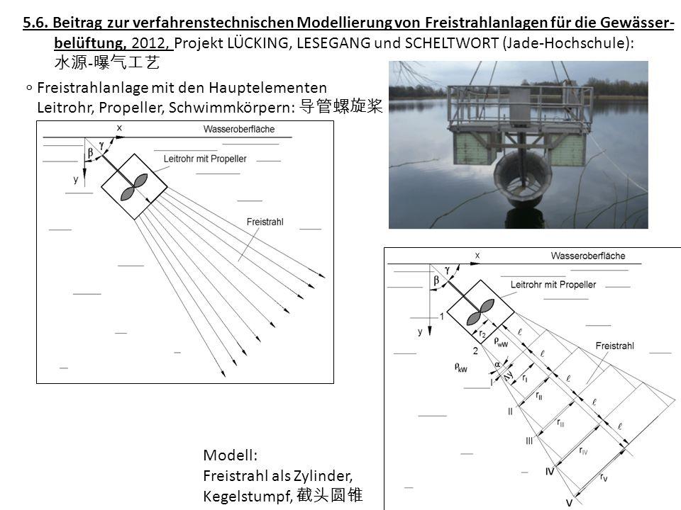 5.6. Beitrag zur verfahrenstechnischen Modellierung von Freistrahlanlagen für die Gewässer- belüftung, 2012, Projekt LÜCKING, LESEGANG und SCHELTWORT