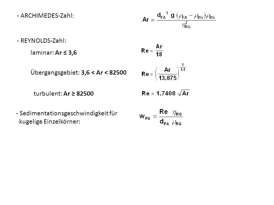 - ARCHIMEDES-Zahl: laminar: Ar 3,6 - REYNOLDS-Zahl: Übergangsgebiet: 3,6 < Ar < 82500 turbulent: Ar 82500 - Sedimentationsgeschwindigkeit für kugelige