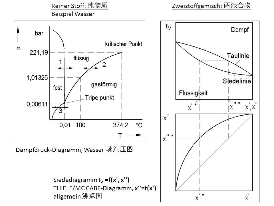 Reiner Stoff: Beispiel Wasser Zweistoffgemisch: Siedediagramm t V =f(x', x'') THIELE/MC CABE-Diagramm, x''=f(x') allgemein Dampfdruck-Diagramm, Wasser