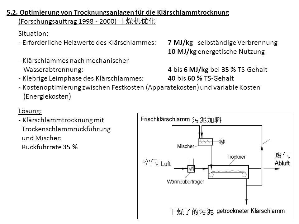 5.2. Optimierung von Trocknungsanlagen für die Klärschlammtrocknung (Forschungsauftrag 1998 - 2000) Situation: - Erforderliche Heizwerte des Klärschla