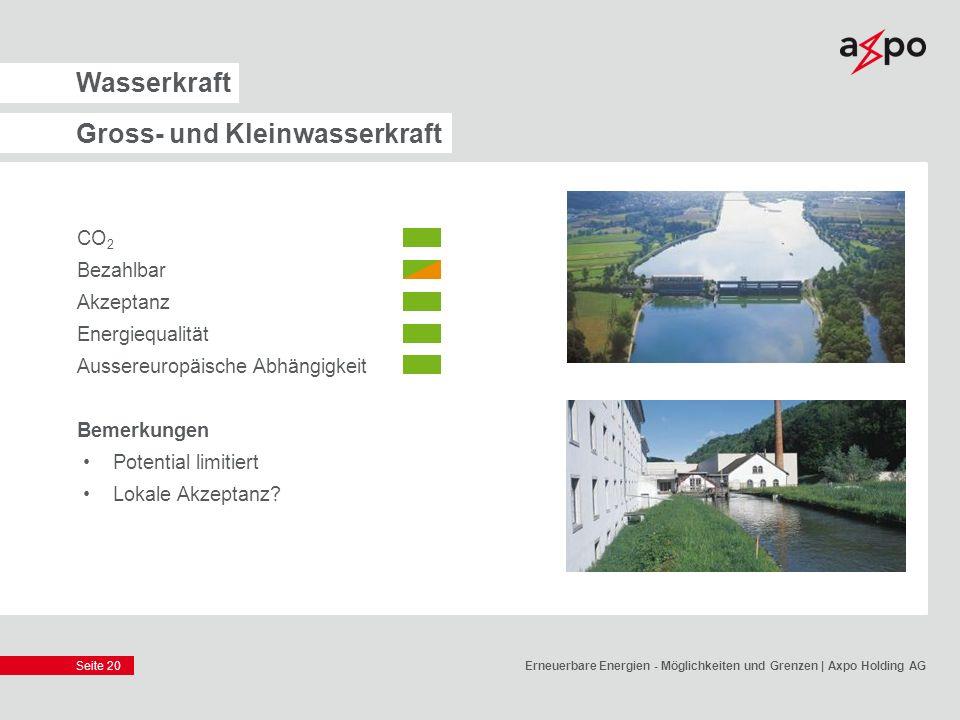 Seite 20 Wasserkraft Gross- und Kleinwasserkraft CO 2 Bezahlbar Akzeptanz Energiequalität Aussereuropäische Abhängigkeit Bemerkungen Potential limitie