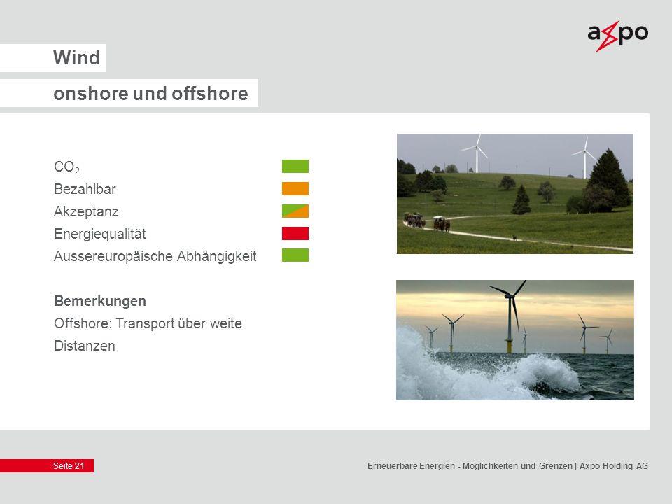 Seite 21 Wind onshore und offshore CO 2 Bezahlbar Akzeptanz Energiequalität Aussereuropäische Abhängigkeit Bemerkungen Offshore: Transport über weite