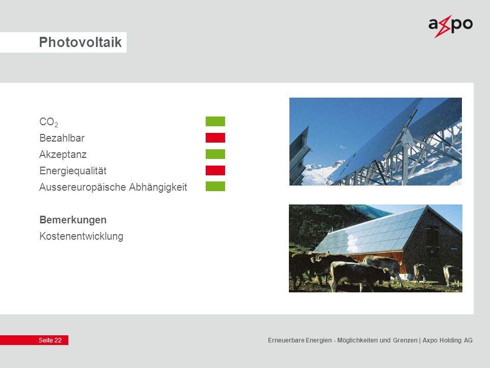 Seite 22 Photovoltaik CO 2 Bezahlbar Akzeptanz Energiequalität Aussereuropäische Abhängigkeit Bemerkungen Kostenentwicklung Erneuerbare Energien - Mög