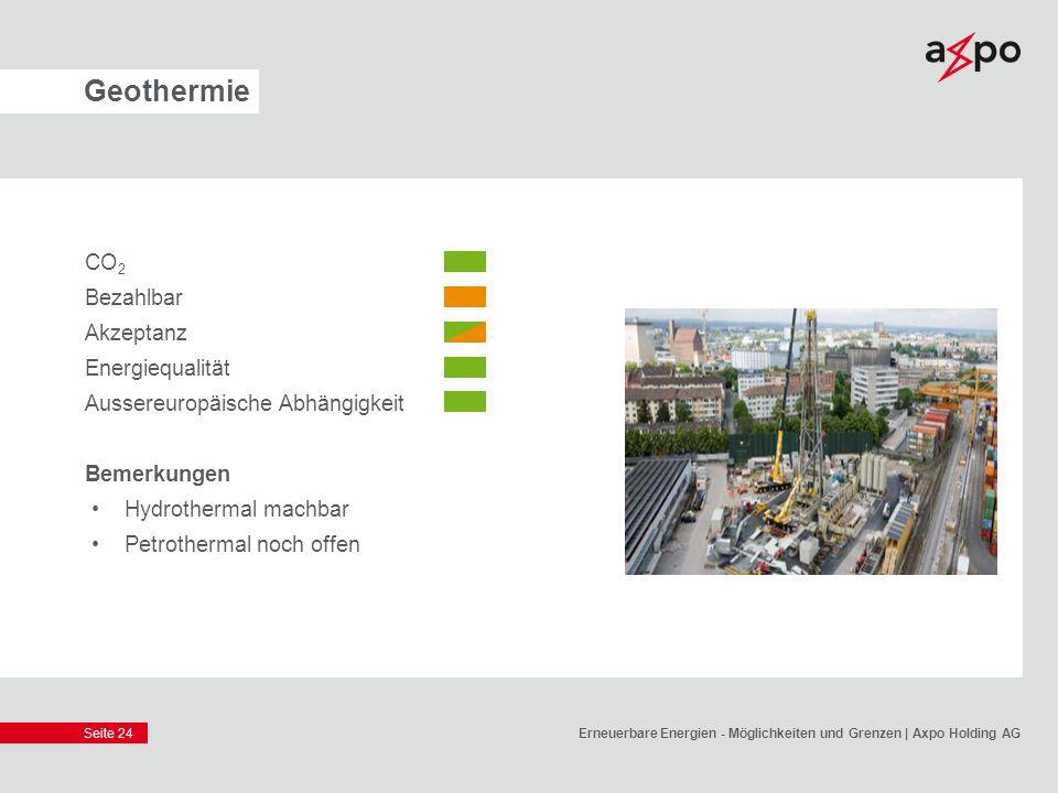 Seite 24 Geothermie CO 2 Bezahlbar Akzeptanz Energiequalität Aussereuropäische Abhängigkeit Bemerkungen Hydrothermal machbar Petrothermal noch offen E