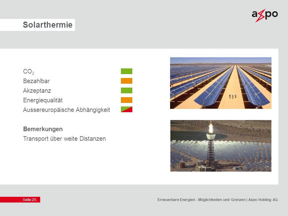Seite 25 Solarthermie CO 2 Bezahlbar Akzeptanz Energiequalität Aussereuropäische Abhängigkeit Bemerkungen Transport über weite Distanzen Erneuerbare E