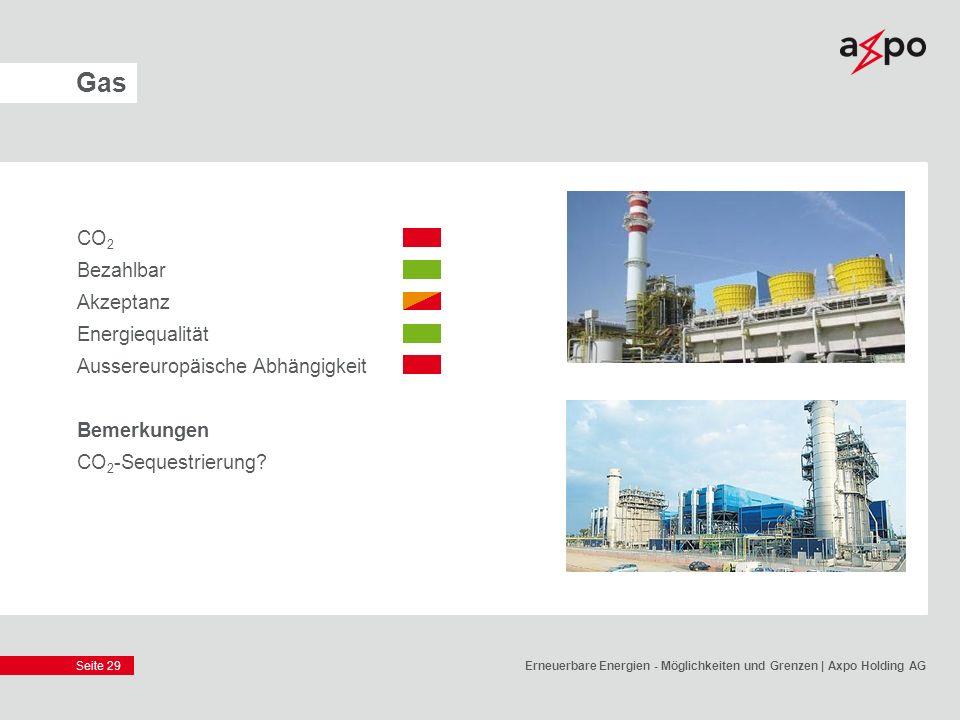 Seite 29 Gas CO 2 Bezahlbar Akzeptanz Energiequalität Aussereuropäische Abhängigkeit Bemerkungen CO 2 -Sequestrierung? Erneuerbare Energien - Möglichk