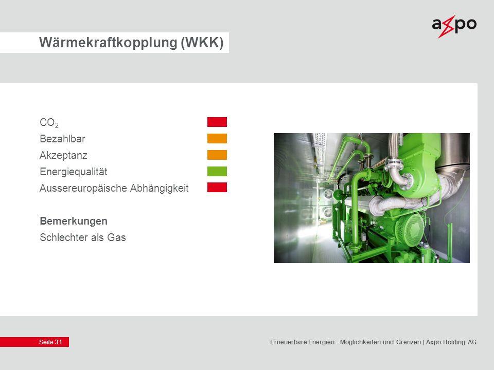 Seite 31 Wärmekraftkopplung (WKK) CO 2 Bezahlbar Akzeptanz Energiequalität Aussereuropäische Abhängigkeit Bemerkungen Schlechter als Gas Erneuerbare E