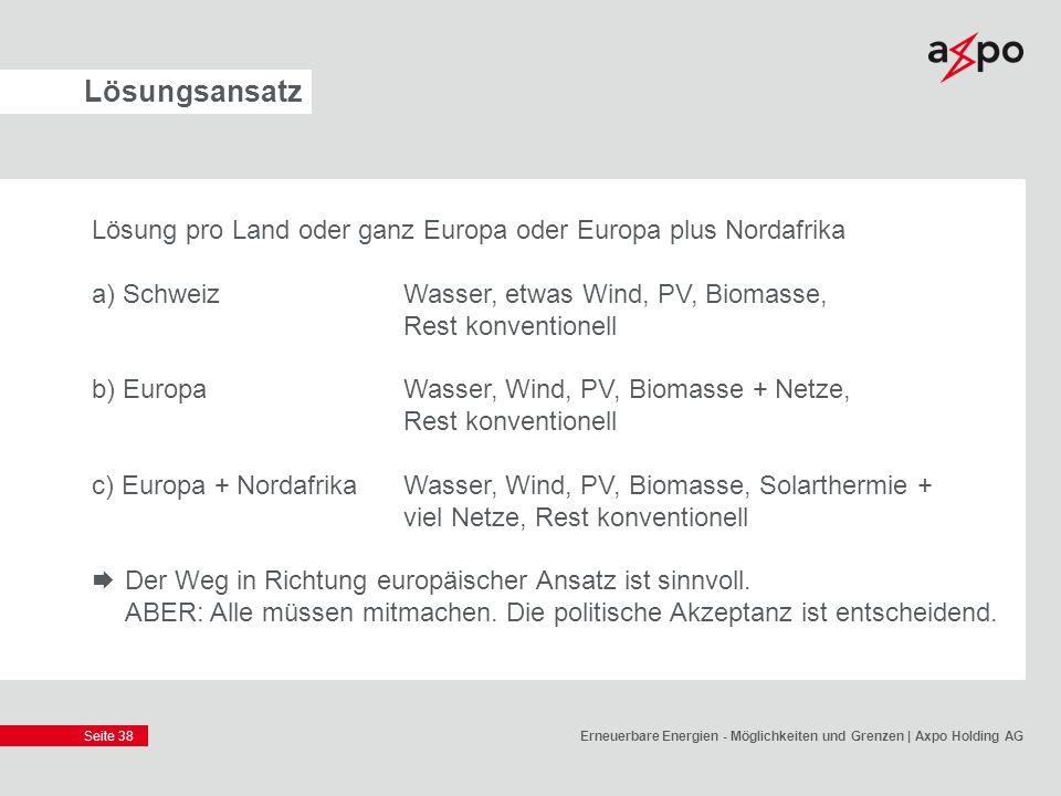 Seite 38 Lösungsansatz Lösung pro Land oder ganz Europa oder Europa plus Nordafrika a) SchweizWasser, etwas Wind, PV, Biomasse, Rest konventionell b)
