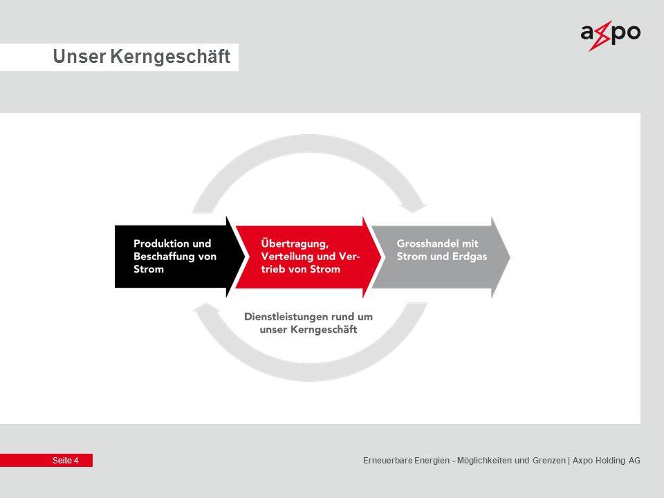 Seite 5 Unsere Strategie Axpo positioniert sich als führender Schweizer Produzent für Strom aus Kernenergie, Wasserkraft und neuen Energien.