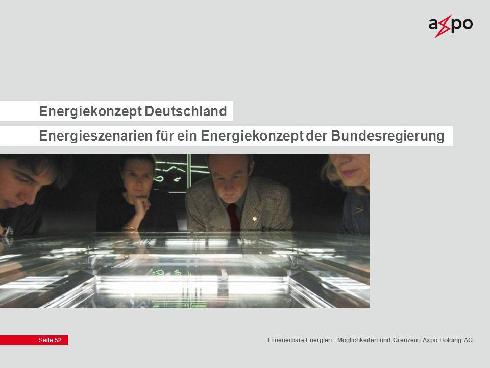 Seite 52 Energiekonzept Deutschland Energieszenarien für ein Energiekonzept der Bundesregierung Erneuerbare Energien - Möglichkeiten und Grenzen | Axp