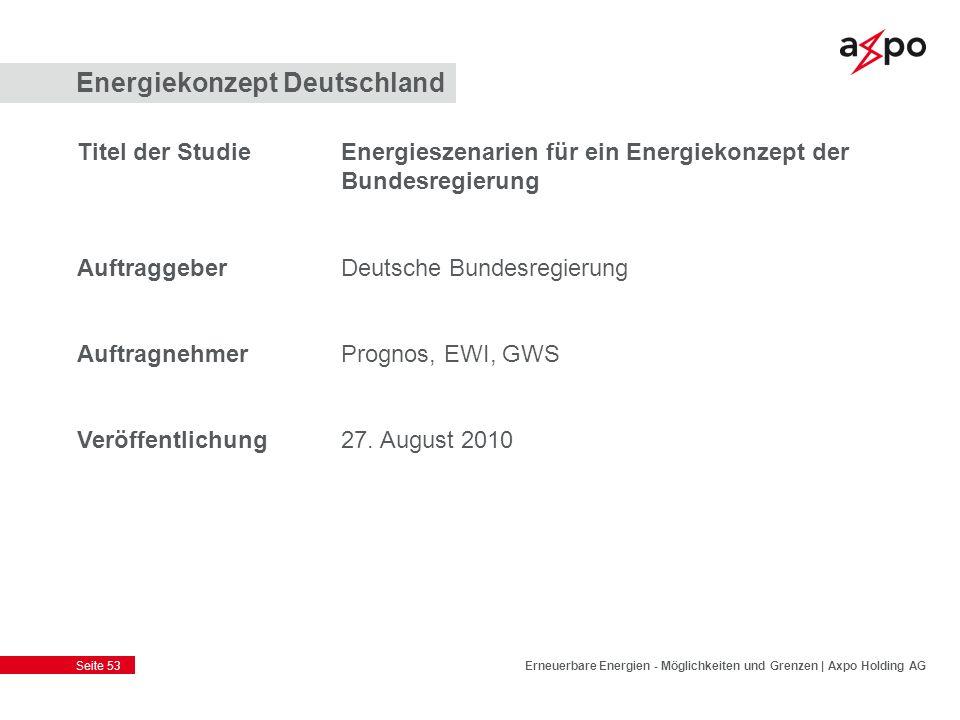 Seite 53 Energiekonzept Deutschland Titel der StudieEnergieszenarien für ein Energiekonzept der Bundesregierung AuftraggeberDeutsche Bundesregierung A