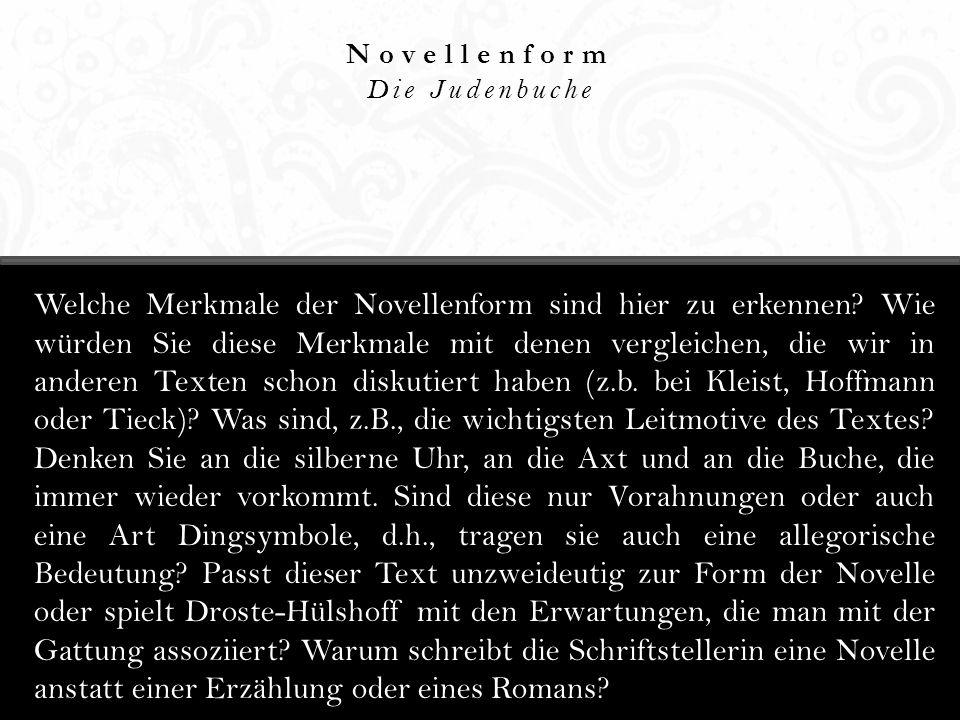 Hauptthemen Die Judenbuche Was sind die Hauptthemen dieser Novelle.