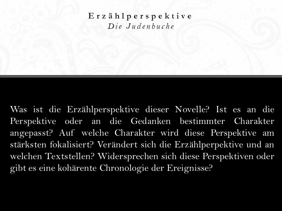 Erzählperspektive Die Judenbuche Was ist die Erzählperspektive dieser Novelle? Ist es an die Perspektive oder an die Gedanken bestimmter Charakter ang
