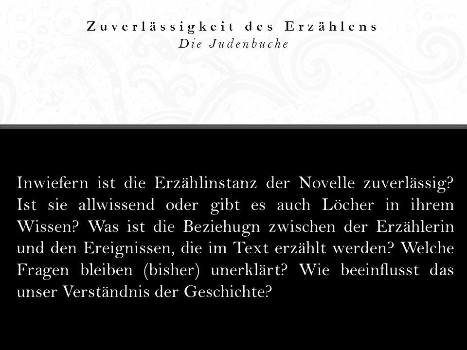 Erzählerische Spannung Die Judenbuche Die Judenbuche wird oft als den ersten Krimi der deutschen Literatur bezeichnet.