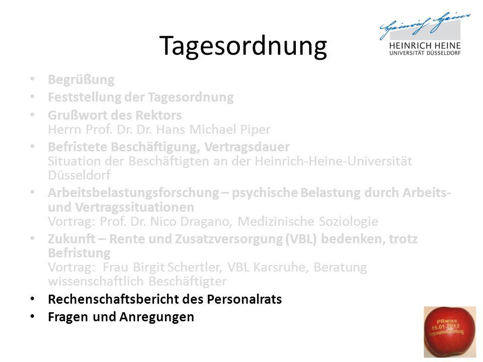 Tagesordnung Begrüßung Feststellung der Tagesordnung Grußwort des Rektors Herrn Prof. Dr. Dr. Hans Michael Piper Befristete Beschäftigung, Vertragsdau