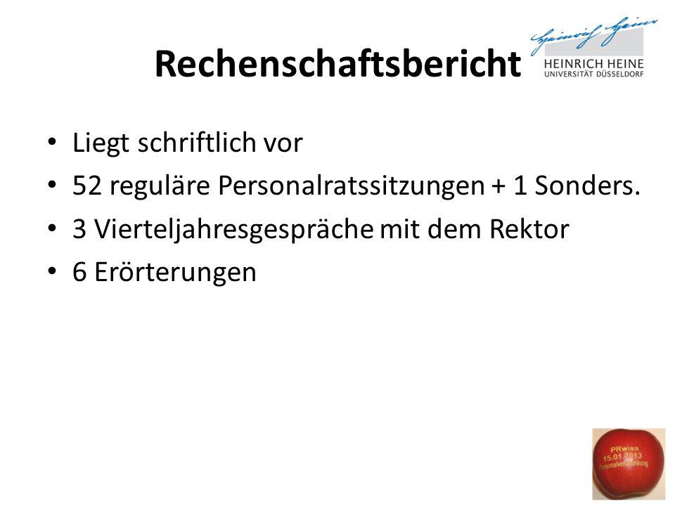 Rechenschaftsbericht Liegt schriftlich vor 52 reguläre Personalratssitzungen + 1 Sonders. 3 Vierteljahresgespräche mit dem Rektor 6 Erörterungen