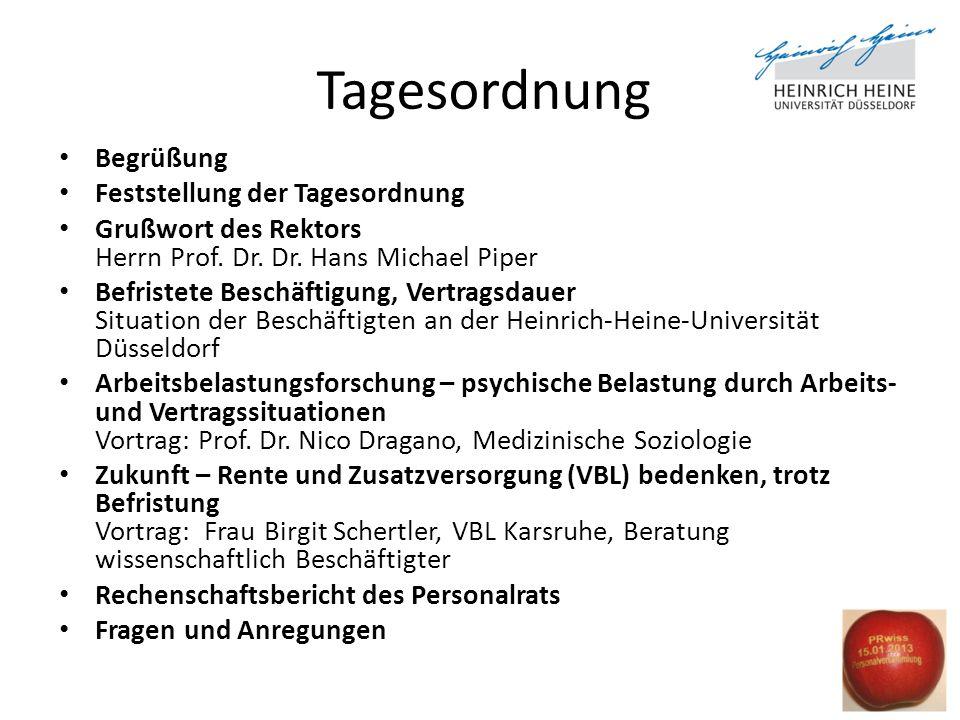 Tagesordnung Begrüßung Feststellung der Tagesordnung Grußwort des Rektors Herrn Prof.