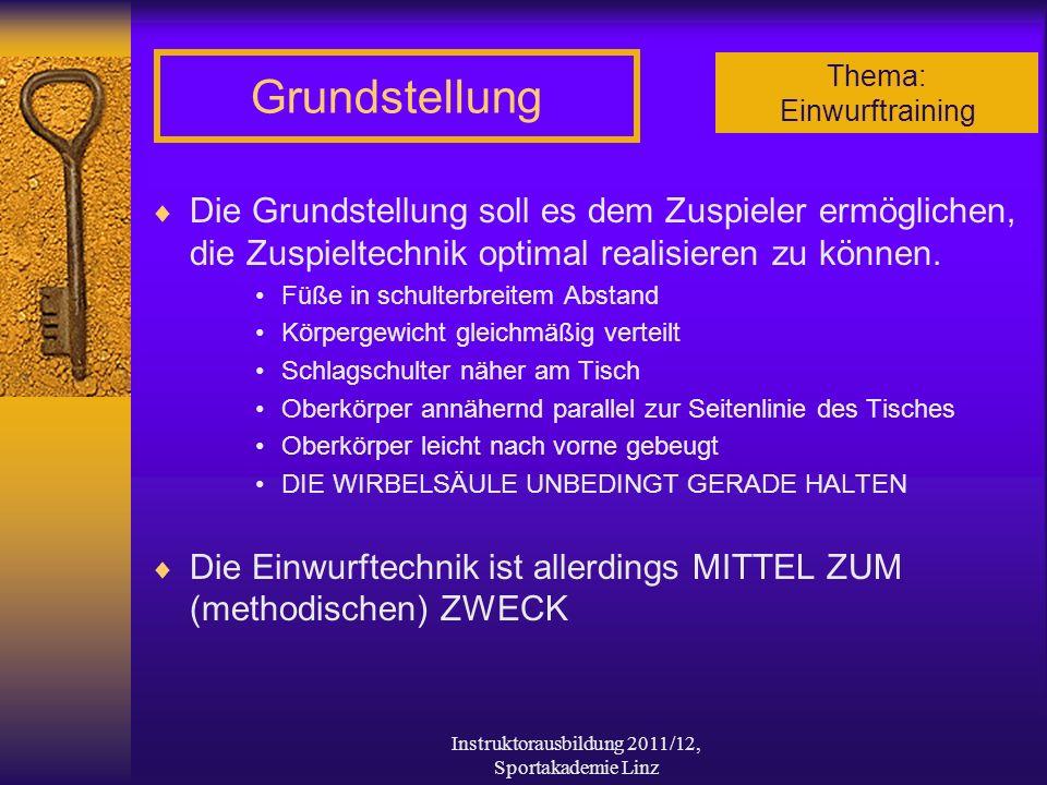 Thema: Einwurftraining Instruktorausbildung 2011/12, Sportakademie Linz Grundstellung Die Grundstellung soll es dem Zuspieler ermöglichen, die Zuspiel
