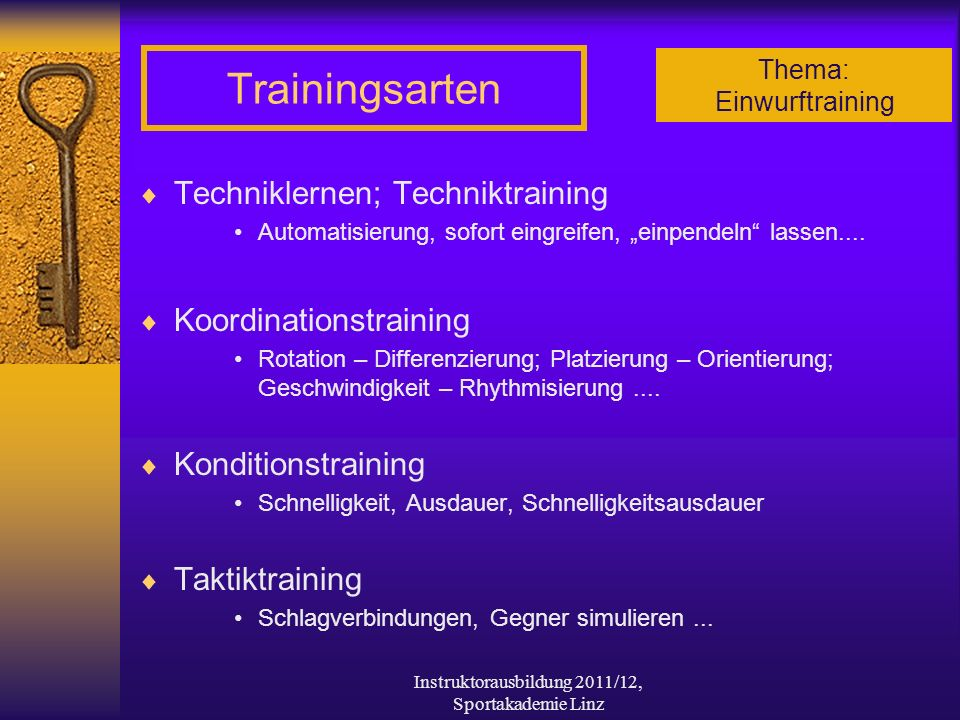 Thema: Einwurftraining Instruktorausbildung 2011/12, Sportakademie Linz Trainingsarten Techniklernen; Techniktraining Automatisierung, sofort eingreif