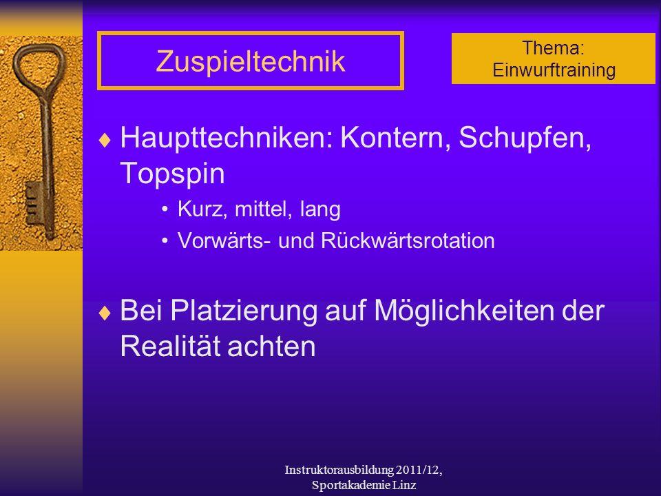 Thema: Einwurftraining Instruktorausbildung 2011/12, Sportakademie Linz Zuspieltechnik Haupttechniken: Kontern, Schupfen, Topspin Kurz, mittel, lang V