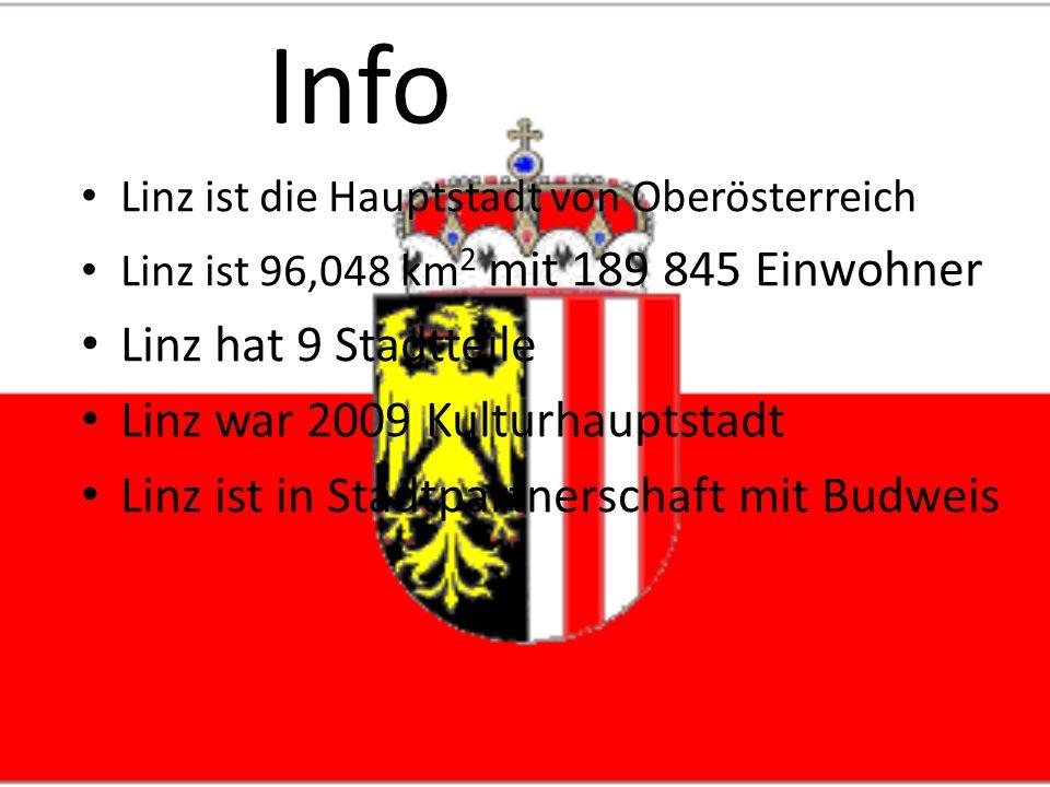 Info Linz ist die Hauptstadt von Oberösterreich Linz ist 96,048 km 2 mit 189 845 Einwohner Linz hat 9 Stadtteile Linz war 2009 Kulturhauptstadt Linz ist in Stadtpartnerschaft mit Budweis