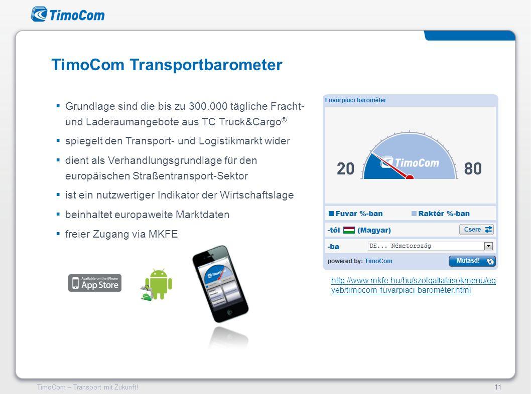 TimoCom – Transport mit Zukunft!11 Grundlage sind die bis zu 300.000 tägliche Fracht- und Laderaumangebote aus TC Truck&Cargo ® spiegelt den Transport