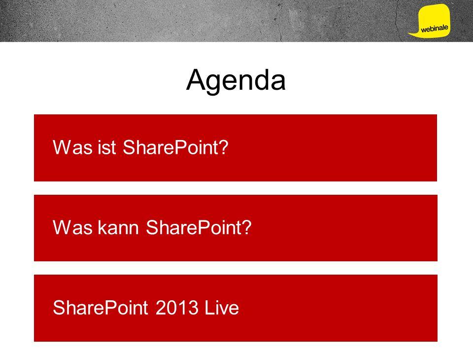 Agenda Was ist SharePoint? Was kann SharePoint? SharePoint 2013 Live