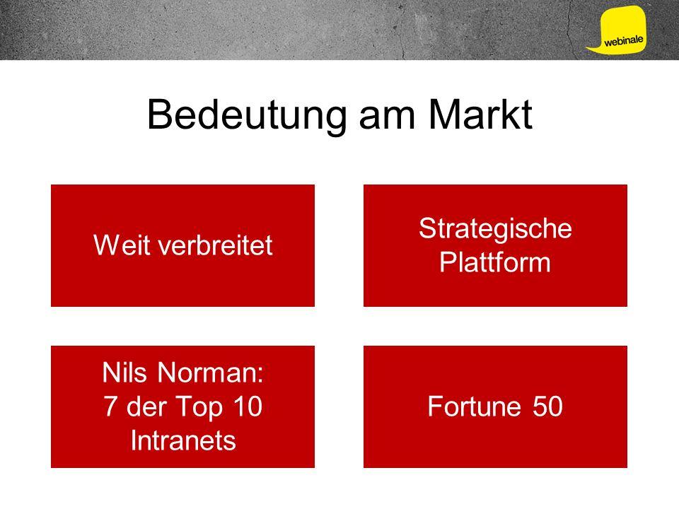 Bedeutung am Markt Weit verbreitet Strategische Plattform Nils Norman: 7 der Top 10 Intranets Fortune 50