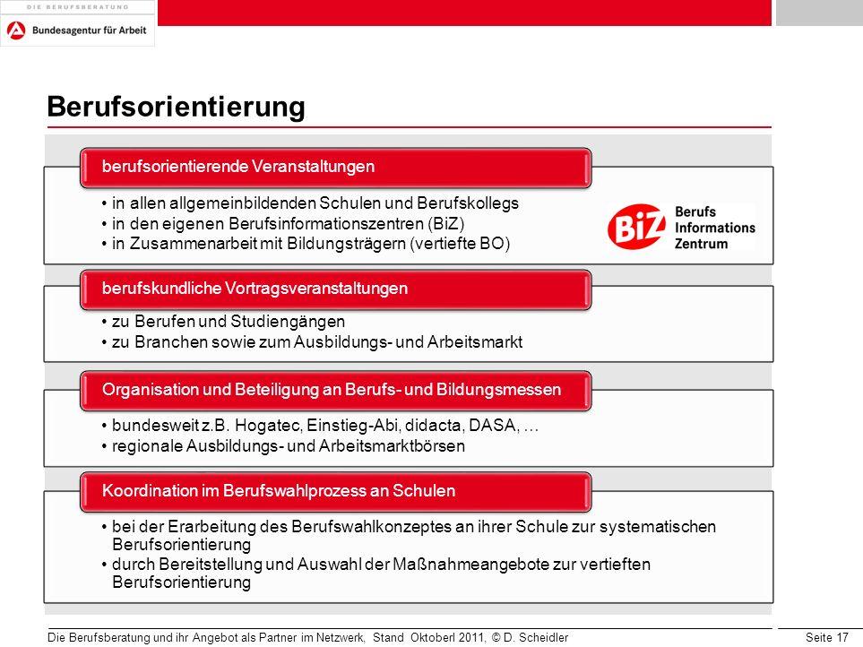 Seite 17 Berufsorientierung Die Berufsberatung und ihr Angebot als Partner im Netzwerk, Stand Oktoberl 2011, © D. Scheidler