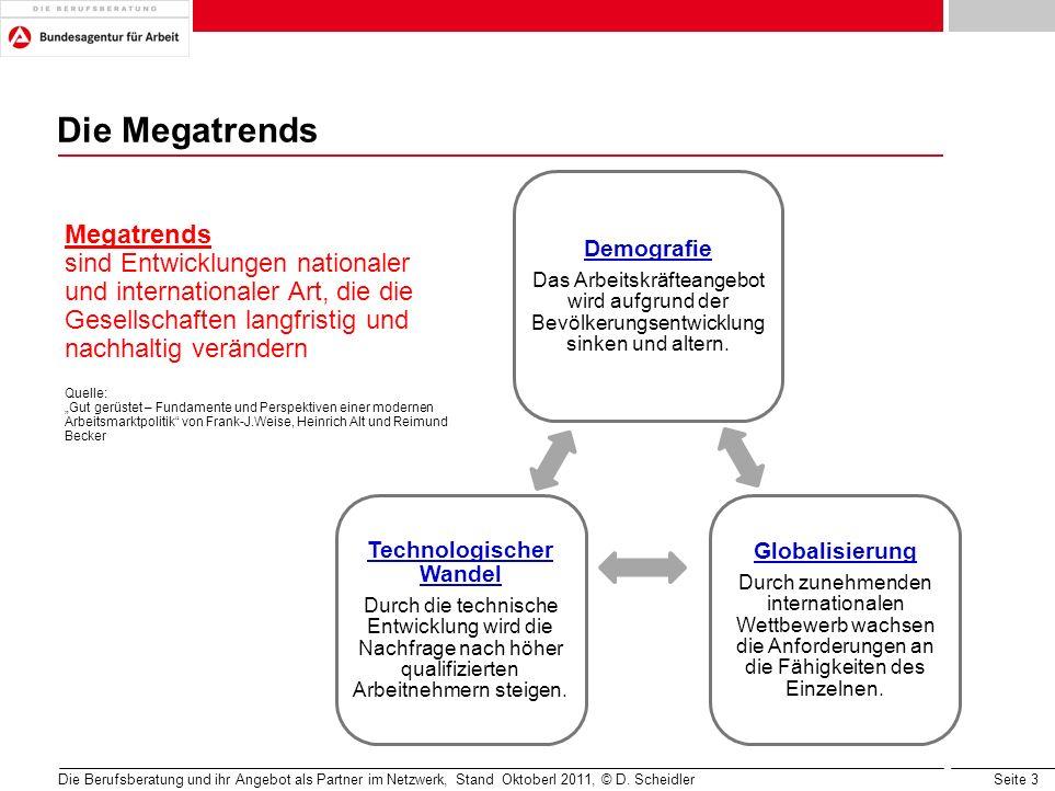 Seite 3 Die Berufsberatung und ihr Angebot als Partner im Netzwerk, Stand Oktoberl 2011, © D. Scheidler Die Megatrends Megatrends sind Entwicklungen n